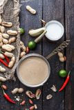 Peanut sauce or satay sauce for Chicken skewers. Peanut sauce or satay sauce for Chicken skewers stock images