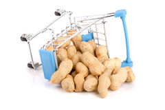 Peanut in a shopping cart isolated on white background Royalty Free Stock Photography