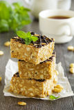 Peanut squares. With air rice stock image