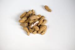 Peanut on white background. Peel peanut on white background stock photography