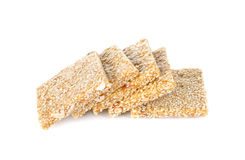 Peanut and white sesame bar on white background Royalty Free Stock Image