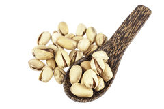 Peanut in wood spoon Stock Images