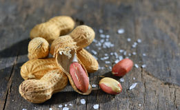 Peanut  on wooden background Stock Photos