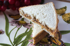 Peanutbutter bread. Peanutbutter and jelly spread bread Stock Image