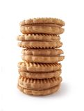 Peanutbutter Cookies 2. Stacked peanutbutter sandwich cookies, natural light. (Path Included stock images