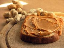 Peanutbutter sandwich. Sandwich with peanutbutter spread royalty free stock photography