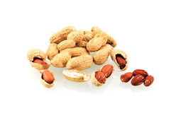 Peanuts. Isolated on white background stock photo