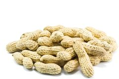 Peanuts. Stack on white background Stock Photo