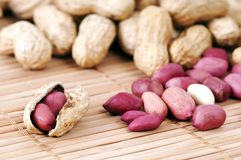 Peanuts. Close up shot of peanuts and nutshell Royalty Free Stock Photos
