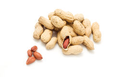 Peanuts. Groundnut with shells on the white background stock image