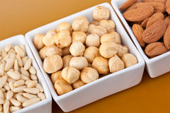 Peanuts aldons and hazelnuts Royalty Free Stock Image
