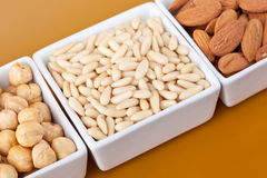 Peanuts aldons and hazelnuts Stock Image