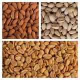Peanuts, almonds and pistachios Royalty Free Stock Images