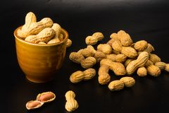 Peanuts in shell on dark background, close up. Peanuts, Arachis hypogaea, in shell on dark background, close up, selective focus Royalty Free Stock Photography