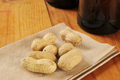 Peanuts on a bar napkin Royalty Free Stock Photography
