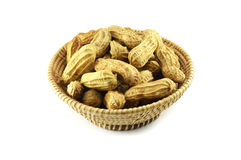 Peanuts in basket Stock Photography