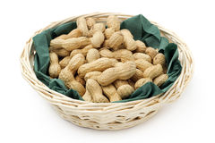 Peanuts in basket Royalty Free Stock Photo