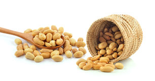 Peanuts in the basket on white background Stock Image