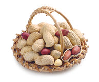 Peanuts in basket Stock Photo