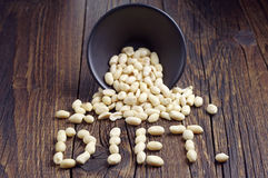 Peanuts in bowl and the word diet Royalty Free Stock Photo