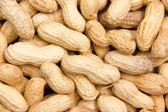 Peanuts close. Some peanut seen up close from above stock photo