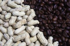 Peanuts and Coffee Beans Royalty Free Stock Photo