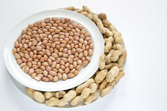 Peanuts on dish Stock Images