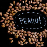 Peanuts full of proteins and fats. Diet and healthy lifestyle. top view Stock Images