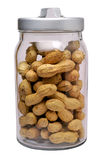 Peanuts in glass jar royalty free stock images