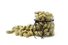 Peanuts in glass jar Stock Photos