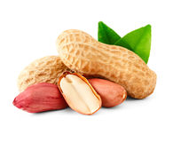Peanuts with green leaf. Stock Photography