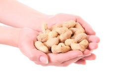 Peanuts in hand isolated Royalty Free Stock Photography