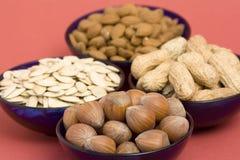 Peanuts, hazelnuts, almonds Stock Image