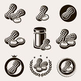Peanuts label and icons set. Vector. Nut, natural, fresh Royalty Free Stock Images
