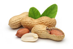 Peanuts and leaves Royalty Free Stock Photos