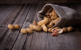 Peanuts in a miniature burlap bag on wooden Stock Images