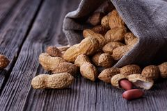 Peanuts in a miniature burlap bag on wooden Stock Photography