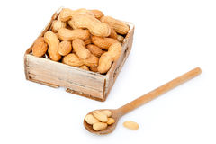 Peanuts in the old box Stock Photos
