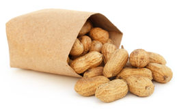 Peanuts in a packet Royalty Free Stock Image