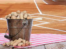 Peanuts in a Pail With Baseball Field Background Stock Photo