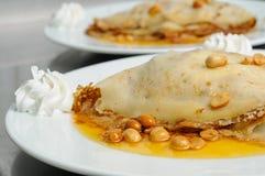 Peanuts pancake crepe dessert Royalty Free Stock Photos