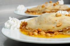 Peanuts pancake crepe dessert Stock Photos