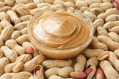 Peanuts & peanut butter royalty free stock photography