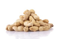 Peanuts pile isolated on white Royalty Free Stock Photo