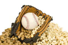 Peanuts, Popcorn, and Softball Royalty Free Stock Images