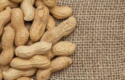 Peanuts on sackcloth Stock Photography