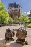 Peanuts Saint Paul Minnesotta. Linus and Sally cartoon scultpure figures in downtown St Paul, Minnesotta, United States stock photos