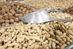 Peanuts for sale in supermarket Royalty Free Stock Image