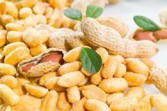 Peanuts. Salted nuts Isolated on a white. Macro Royalty Free Stock Photo