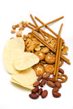 Peanuts and salty snacks Stock Image